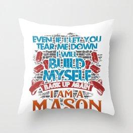 Mason Masonry Build Myself Up Stonemason Bricklayer Construction Throw Pillow