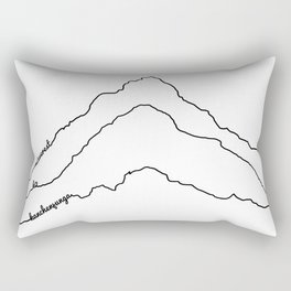 Tallest Mountains in the World B&W / Mt Everest K2 Kanchenjunga / Minimalist Line Drawing Art Print Rectangular Pillow
