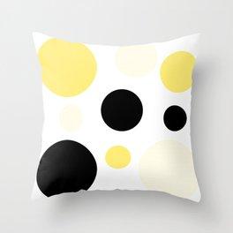 Atomic Era Circles With Dots Yellow Throw Pillow