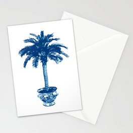 Potted Palm Tree, Cobalt Blue and White Stationery Cards