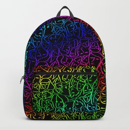 Elio's Shirt Faces Holographic Neon Rainbow Backpack