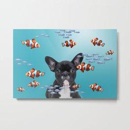 French Bulldog - underwater clownfishes  Metal Print