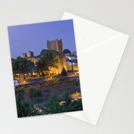 Braganca castle and town at dusk, Portugal Stationery Cards