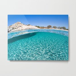 The bottom of an exotic beach on half underwater view Metal Print