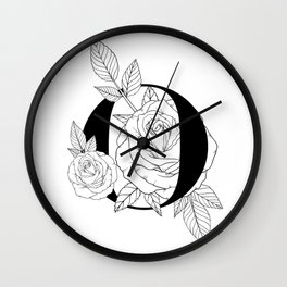 Monogram Letter O with Rose Line Art Wall Clock