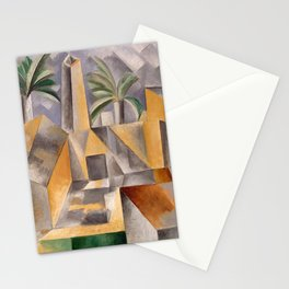 Tropical Oasis, Palms and cityscape landscape painting by Pablo Picasso Stationery Cards