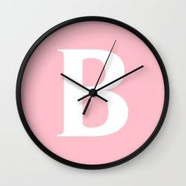B MONOGRAM (WHITE & PINK) Wall Clock