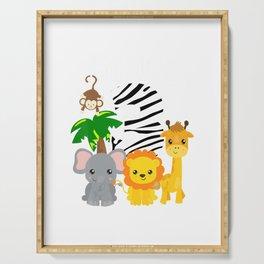 I'm Wild and 3 Zoo Theme Birthday Shirt Safari Jungle Animal Serving Tray