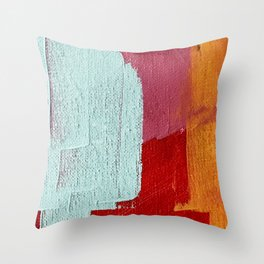 Desert Daydreams [2]: a vibrant, colorful abstract acrylic piece in pink, red, orange, and blue Throw Pillow
