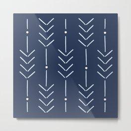 Arrow Lines Pattern in Navy Blue 2 Metal Print