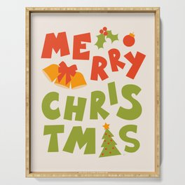 Merry Christmas Hand Lettering Serving Tray
