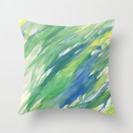 Blue green yellow watercolor hand painted brushstrokes Throw Pillow