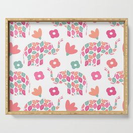 cute colorful abstract pattern background with leaves elephants and flowers Serving Tray