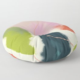 sky abstract with pink & green clouds Floor Pillow