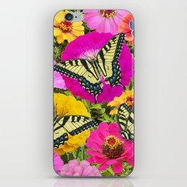 eastern tiger swallowtail butterflies on zinnias iPhone Skin
