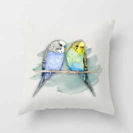 Two cute budgies watercolor Throw Pillow