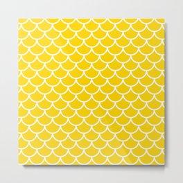 Yellow fish scales pattern Metal Print