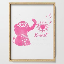 Tu Breast Cancer Awareness Dandelion Elephant Costume T-Shirt Serving Tray