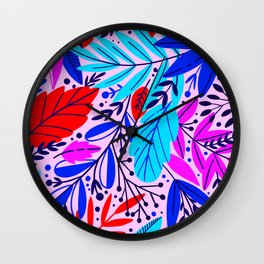 Hot Neon Summer Contemporary Colorful Leaf Patterns Wall Clock