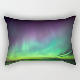 Northern lights over lake in Finland Rectangular Pillow