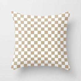 Small Checkered - White and Khaki Brown Throw Pillow