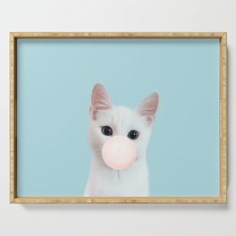 Bubble gum cat in blue Serving Tray