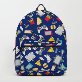 Gamer Blue Gaming Fast Food Kids Retro Pattern Backpack