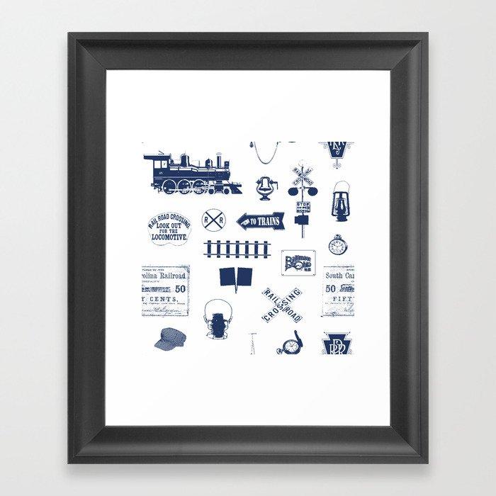 Railroad Symbols // Navy Blue Gerahmter Kunstdruck
