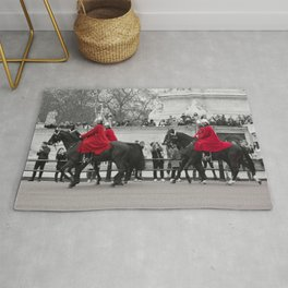Household Calvary Trot by Buckingham Palace during Changing of the Guard London England Rug