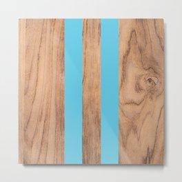 Striped Wood Grain Design - Light Blue #807 Metal Print