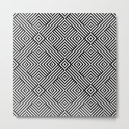 Black white pattern with lines and squares Metal Print