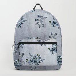 Grey Roses and Leaves Backpack