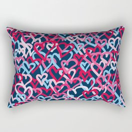 Colorful  Hearts - Graffiti Style Rectangular Pillow