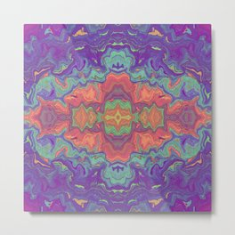 Sunset Colors Abstract Watercolor Marble Metal Print