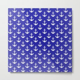 Anchors (White & Navy Blue Pattern) Metal Print