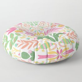 Tropical Pattern in Pink and Green Floor Pillow