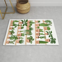 Succulents and Cacti Plants on Shelves Print Rug