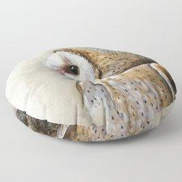 Barn Owl Watercolor, Birds Of Prey Wild Animals Owls Floor Pillow