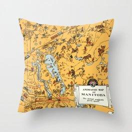 1929 Vintage Map of Manitoba Throw Pillow