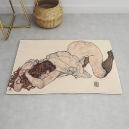 Egon Schiele - Kneeling Girl, Resting on Both Elbows Rug