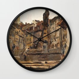 Isaac Lazarus Israels - Fontaine St Anne, Fribourg, Switzerland - Digital Remastered Edition Wall Clock