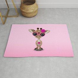 Pink Day of the Dead Sugar Skull Baby Giraffe Rug