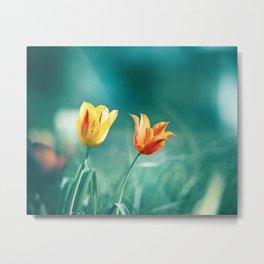 Teal Orange Nature Photography, Turquoise Yellow Tulips Photo, Aqua Teal Green Flower Art Print Metal Print