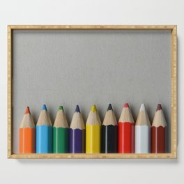 palette of colored pencils Serving Tray