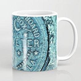 New Orleans Water Meter Louisiana Crescent City NOLA Water Board Metalwork Blue Green Coffee Mug