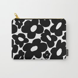 60s 70s Hippie Flowers Black Carry-All Pouch