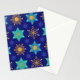 Hanukkah Holidays Star of David and Snowflake Pattern Stationery Cards