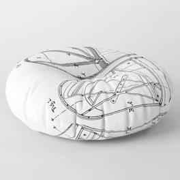 Steinway Grand Piano Patent - Piano Player Art - Black And White Floor Pillow