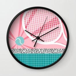 Boo Ya - tennis full court racquet palm springs resort sports vacation athlete pop art 1980s neon  Wall Clock