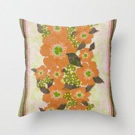 Retro Floral Pattern Orange Throw Pillow